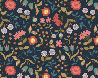 Country House Floral on Darkest Blue  A241.3 - CHIEVELEY - Lewis and Irene Fabric - By the Yard