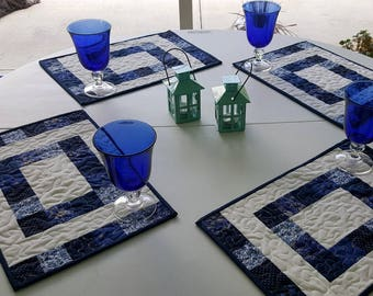 Quilted Place Mats Set of Four (4) Handmade Cotton Blue and White Patchwork Place Mats or Mini Quilts for your Patio or Home