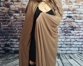 Iridescent Brown Cloak with Hood and Clasp