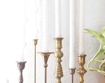 set of 6 brass ornate candle holders / instant collection