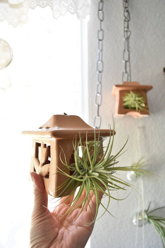 vintage ceramic air plant hanging house terrarium / ornament / miniature bird house