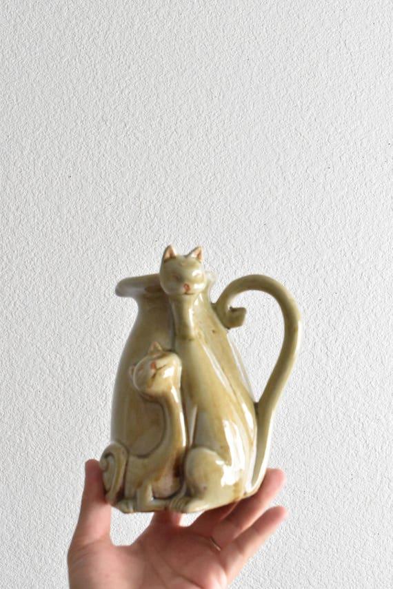 ceramic kitty cat water pitcher flower vase / kitten figurine / gift cat for lover