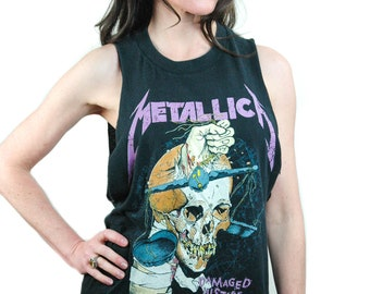 Vintage Metallica shirt 1988 Damaged Justice Concert shirt Band Tee Sleeveless shirt Thrash Metal Metallica Tee L
