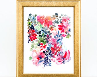 Art Print Flowers Watercolor. Floral Artwork Print. Wildflower Bouquet Print. Wall Decor. Spring Pattern Paper. Botanical Art. Pink Flowers.