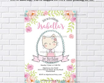 Cat invitation, Cat Party, kitten CAT, boho floral Birthday Invitation, kids, 1st 2nd 3rd 4th 5th 6th 7th 8th 9th 10th  party ,  card 1269