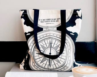 Literary Tote Bag, Compass, Handmade canvas tote bag with pocket, canvas bag, Bookish tote bag, Gifts for Writers, Back to School Book Bag