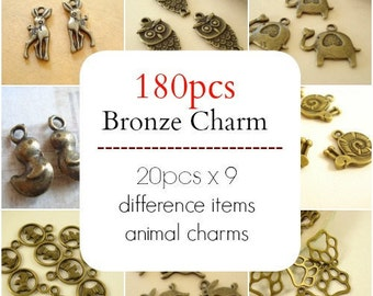 180 Mix 9 Pattern Animal Charm Pendant Finding Antiqued Bronze C-294