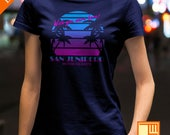 "San Junipero ""Heaven On Earth"" Sunset Palm Trees Black Mirror T-Shirt  - Mens / Unisex / Ladies Fit"