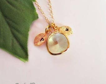 Citrine Necklace, Personalized Necklace, Initial Necklace, Leaf Necklace, Dainty Necklace, Best friend necklace, Initial Jewelry, Sister