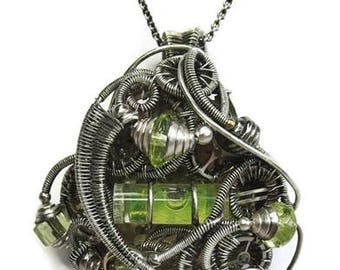 Steampunk Spirit Level Pendant in Antiqued Sterling Silver with Uranium Glass and Watch Gears/Parts