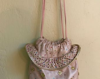 Vintage 1980s RITA DIANA for MYLINKA pale pink metallic leather bejeweled ruffle crossbody purse