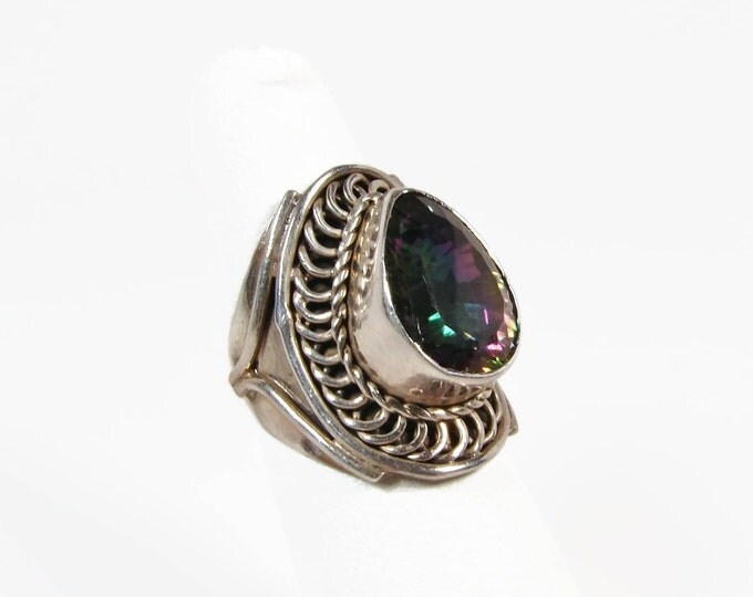 Bali Style Mystic Topaz Sterling Silver Ring Size 6