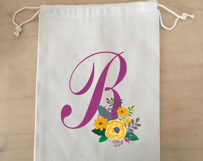 Bridesmaid Gift Bag, Wristlet, Canvas Bag, Drawstring Bag, Bridal Party Gift Bag, Flower Girl, Initial Bag, Monogram