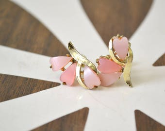 1950s Pink Thermoset Screw Back Earrings