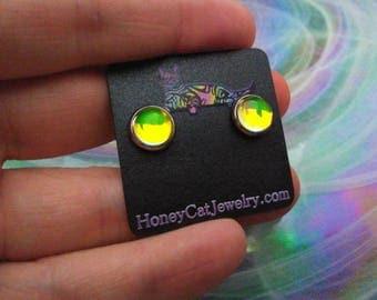 """Glass Opalite Earrings, Yellow Color-Shift Glass Opal Stainless Steel Stud Earrings 10mm / 0.39"""""""