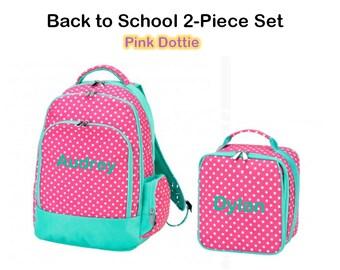 "Personalized ""Back to School"" 2-Piece Pink Dottie Set"