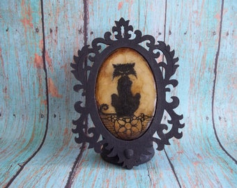 Black Cat Candle Holder, Frame Art,Functional art,Haunt your House,Gothic Decor, Collectible,Covington Creations