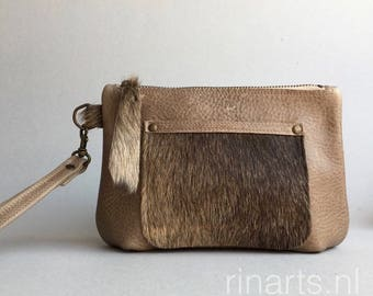 leather wristlet / Clutch / leather zipper pouch / leather bag organizer in  cow hair on hide and dark beige pull up leather