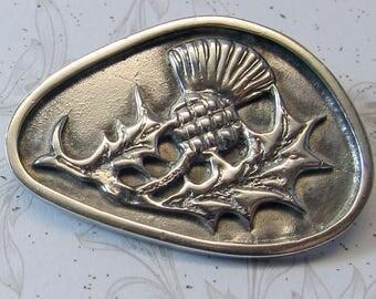 Vintage Scottish Sterling Silver Thistle Pin Brooch Fully Hallmarked United Kingdom