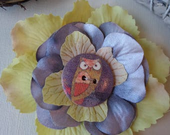 Floral owl hair clip for women~owl pin~owl accessorie~owl hair barrette~gifts for her~hair accessories~floral hair pins~owl decorations