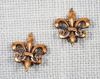 Renoir Modernist Fleur de Lis Copper Earrings