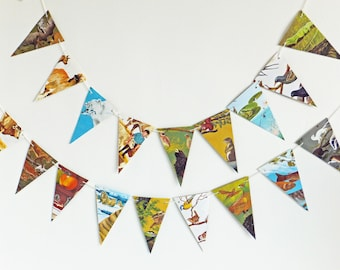Animals Bunting, Animal Garland, Recycled Paper Garland, eco-friendly banner, Nursery Decor, Playroom Decor