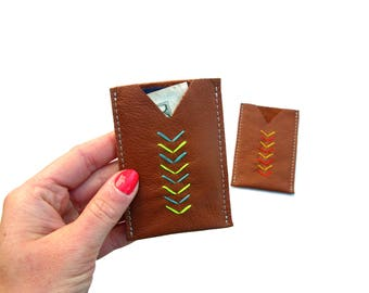 Embroidered Leather Card Holder   Leather Card Case   Credit Card Case   Business Card Holder   Minimalist Leather Wallet   Chevron Wallet