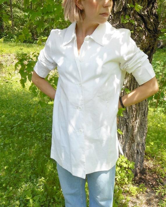 White Cotton Shirt / Oversize / Minimalist / s / m /