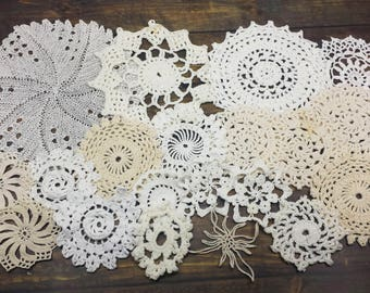 20 Imperfect Vintage Hand Crochet Doilies, Small Crocheted Doilies, Craft Doilies, Crochet Lace Mandalas, 2.5 to 7 inch sizes