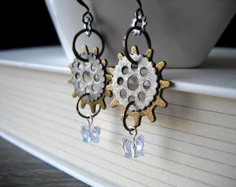 Steampunk earrings: Aetherium   Butterfly earrings   Steampunk gear earrings   Steampunk jewelry   Gear earrings   Copper earrings   Brass