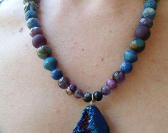 Gemstone and Druzy Essential Oil Diffuser Necklace