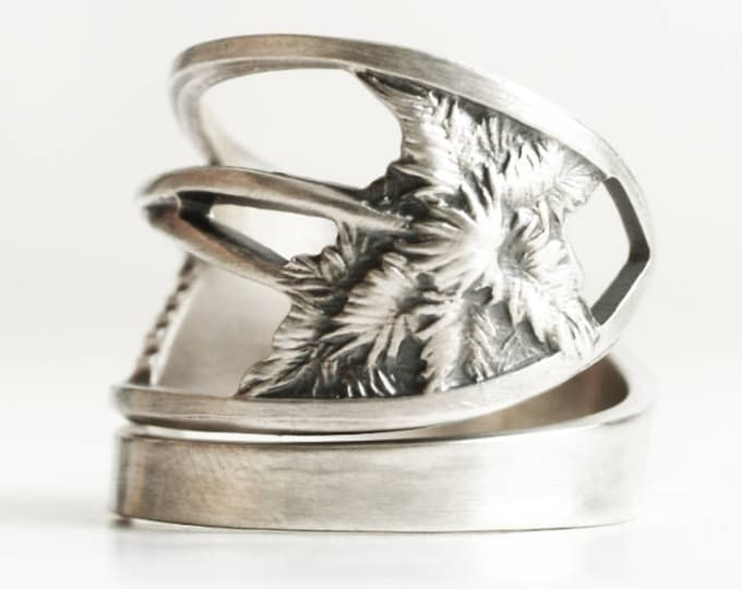 Palm Tree Ring, Florida Ring, Sterling Silver Spoon Ring, Beach Ring, Florida Palm, Gift for Him or Her, Adjustable Ring Size 7 8 9 10, 6765