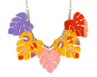 Tropical Retro Colorful Leaves Statement Big Necklace - Monstera Banana Leaf Hawaii Colorful Yellow Pink Red Lilac Pattern Memphis Style