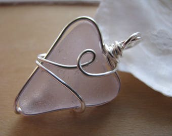 Real Sea Glass Heart in Light Purple SeaGlass Heart Pendant Pink Beach Glass Necklace