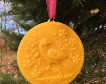 Beeswax Ornament - Bird with Flowers - 4.25 in wide