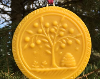 Beeswax Ornament - Beehive and Sheltering Tree - 4.25 in wide