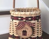 Welcome Basket - New Home Gift - Housewarming - Handwoven Black and Burgundy