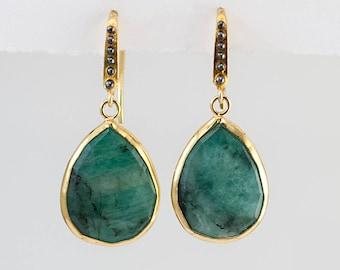 Raw Emerald Earrings - May Birthstone Earrings - Mixed Metal Earrings -  Drop earrings - Gemstone earrings - gold earrings - drop earrings
