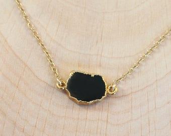 Black Onyx Gem Slice Connector Necklace, 14k Gold Filled Layering Choker, Gold Framed Stone, Minimalist Necklace, Gift for Her, Delicate