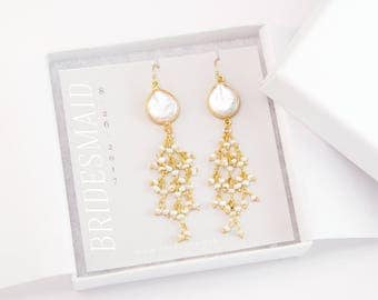 Bridesmaid Gift, Organic Pearl Earrings, Dangle Freshwater Pearl Earrings, Modern Bride, Gift for Her, Gold Tassel Earrings, Bridal Jewelry
