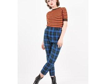 Vintage plaid cigarette pants / 1950s 1960s high waist slim fit / Scotch plaid wool slacks / Blue and green / M