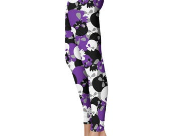 Skull Camo Leggings, Capris or Yoga Pants • Purple • You Can Request Custom Color