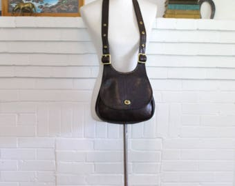 Vintage Coach Bag Pre Creed Crescent Bag // Hippie Saddle Bag NYC Cashin Brown Leather Purse