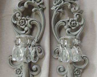 vintage pair wall sconces with crystals gray floral wall sconces candelabra candle holders gray