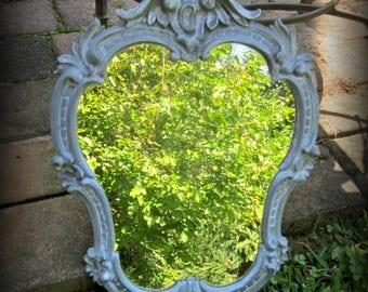Gray Old World Finish Mirror Curvy VINTAGE STYLE  Vanity Hall Accent