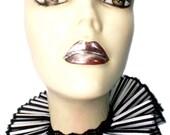 Ruffled Collar Pinstripe Gothic Neck Ruff Victorian Steampunk Queen Black White