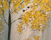 Original  art Wall painting,home decor,yellow Tree landscape painting,canvas painting,wall art