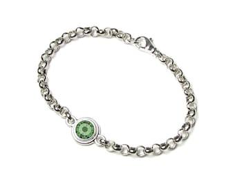 August Peridot Green Swarovski Crystal Silver Birthstone Bracelet TierraCast Personalized Birth Month Jewelry Fine Birthday Gift Women Teens