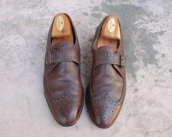 Vintage Mens 8d Florsheim Lightweights Brown Leather Medallion Toe Wingtips Oxfords Brogues Dress Shoes Classic Hipster Biker Wedding Shoes