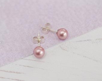 Pink Stud Earrings, Pink Bridesmaid Earrings, Bridesmaid Earrings, Powder Rose Pearls, Pink Pearl Earrings, Pink Pearl Studs, Stud Earrings